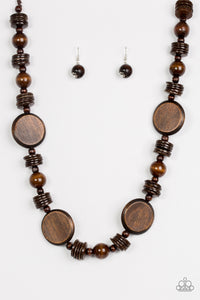 "Paparazzi ""Tiki Tonga"" Brown Round Wooden Bead and Disc Necklace & Earring Set Paparazzi Jewelry"