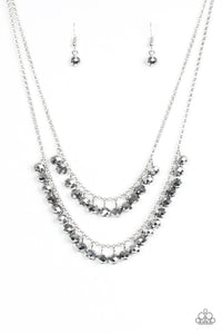 "Paparazzi ""Starlight Sailing"" Silver Hematite Bead Layered Necklace & Earring Set Paparazzi Jewelry"