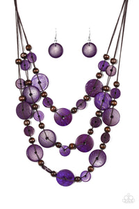 "Paparazzi ""South Beach Summer"" Purple And Brown Wooden Bead Necklace & Earring Set Paparazzi Jewelry"