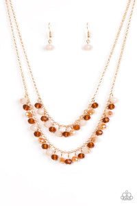 "Paparazzi ""Starlight Sailing"" Gold Chain Brown Bead Layered Necklace & Earring Set Paparazzi Jewelry"