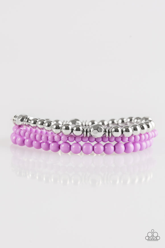 Paparazzi Midsummer Marvel Purple And Silver Bead Stretchy