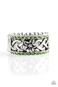 "Paparazzi ""Tropical Springs"" Green Rhinestone Silver Floral Ring Paparazzi Jewelry"