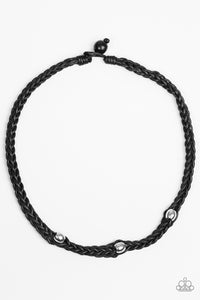 "Paparazzi ""Mountain Mogul"" Black Cord Silver Bead Urban Necklace Unisex Paparazzi Jewelry"