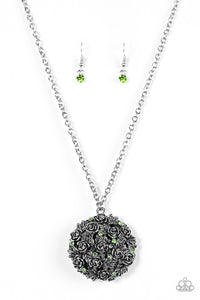 "Paparazzi ""Royal In Roses"" Green Rhinestone Rose Floral Pendant Silver Necklace & Earring Set Paparazzi Jewelry"