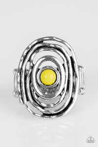 "Paparazzi ""Colorfully Chaotic"" Yellow Bead Hammered Silver Ring Paparazzi Jewelry"