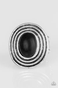 "Paparazzi ""Spiraling Sands"" Black Stone Antiqued Silver Textured Ring Paparazzi Jewelry"