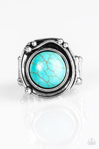 "Paparazzi ""River Roamer"" Blue Turquoise Stone Silver Ring Paparazzi Jewelry"