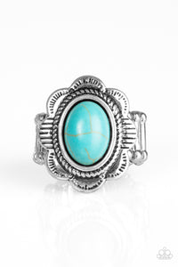 "Paparazzi ""Summer Paradise"" Blue Stone Silver Petal Flower Ring Paparazzi Jewelry"