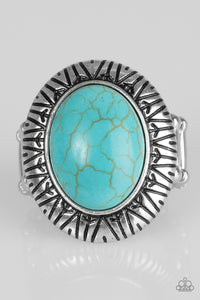"Paparazzi ""Surfin Sand Dunes"" Blue Turquoise Stone Tribal Etched SIlver Ring Paparazzi Jewelry"