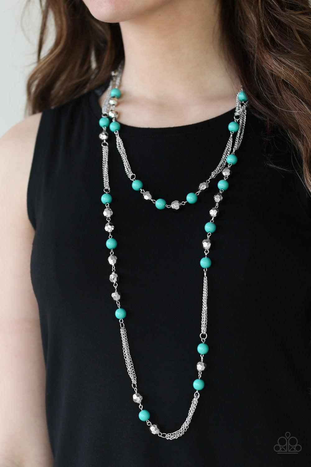 Paparazzi Quot Beautifully Bodacious Quot Green And Silver Bead
