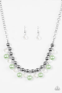 "Paparazzi ""Power Trip"" Green and Silver Bead Necklace & Earring Set Paparazzi Jewelry"