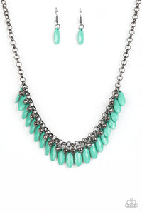 "Paparazzi ""Jersey Shore"" Green Teardrop & Black Bead Gunmetal Necklace & Earring Set Paparazzi Jewelry"