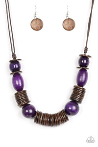 "Paparazzi ""You Better BELIZE It!"" Purple Wooden Bead Brown Disc Necklace & Earring Set Paparazzi Jewelry"