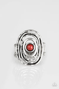 "Paparazzi ""Colorfully Chaotic"" Brown Chili Bead Hammered Silver Ring Paparazzi Jewelry"