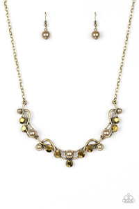 "Paparazzi ""Tie The Knot"" Brass Pearl Aurum Rhinestone Necklace & Earring Set Paparazzi Jewelry"