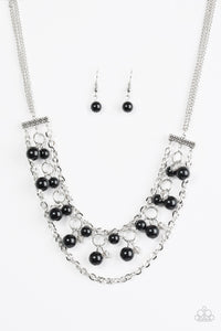 "Paparazzi ""Rockefeller Romance"" Black Bead Silver Necklace & Earring Set Paparazzi Jewelry"