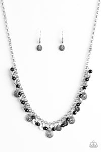 "Paparazzi ""Fashion Formal"" Black Bead Ornate Silver Disc Necklace & Earring Set Paparazzi Jewelry"