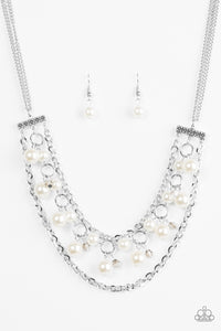 "Paparazzi ""Rockefeller Romance"" White Bead Silver Necklace & Earring Set Paparazzi Jewelry"