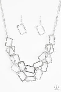 "Paparazzi ""Seattle Scene"" Silver Hammered Frame Necklace & Earring Set Paparazzi Jewelry"