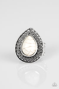 "Paparazzi ""Totally Tropicana"" White Stone Leafy Design Silver Ring Paparazzi Jewelry"