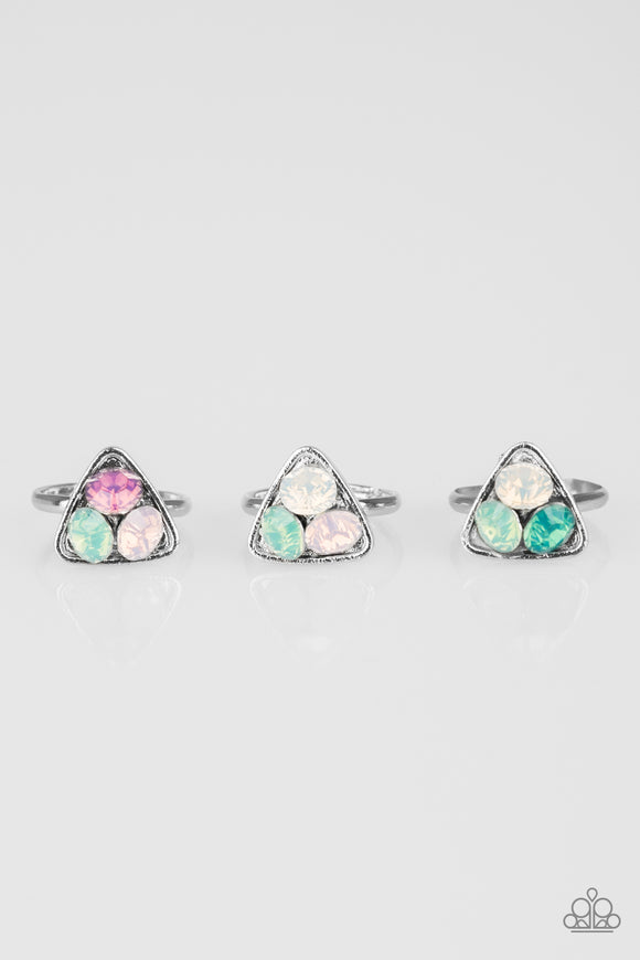 Girls Starlet Shimmer Silver Triangle Triple Opal Rhinestone Set of 5 Multi Color Ring Paparazzi Jewelry