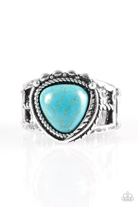 "Paparazzi ""Cliff Climber"" Blue Turquoise Triangular Stone Ornate Silver Ring Paparazzi Jewelry"