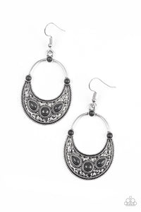 "Paparazzi ""Paleo Paradise"" Black Stone Silver Teardrop Hoop Earrings Paparazzi Jewelry"