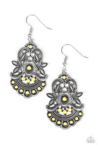 "Paparazzi ""Blooming Bora Bora"" Yellow Bead Silver Floral Earrings Paparazzi Jewelry"