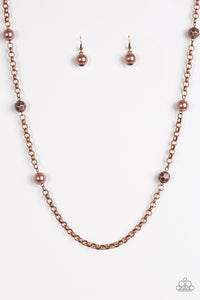 "Paparazzi ""Showroom Shimmer"" Copper Pearly & Faceted Bead Necklace & Earring Set Paparazzi Jewelry"
