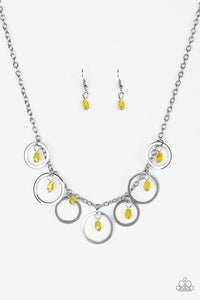 "Paparazzi ""Rochester Refinement"" Yellow Bead Silver Hoop Necklace & Earring Set Paparazzi Jewelry"