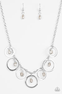 "Paparazzi ""Rochester Refinement""  Silver Hoop Smoky Faceted Bead Necklace & Earring Set Paparazzi Jewelry"