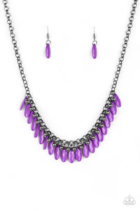 "Paparazzi ""Jersey Shore"" Purple Teardrop & Black Bead Gunmetal Necklace & Earring Set Paparazzi Jewelry"