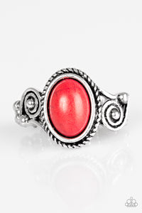 "Paparazzi ""Cactus Creek"" Red Stone Silver Textured Frame Ring Paparazzi Jewelry"