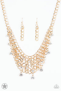 "Paparazzi ""Fishing For Compliments"" BLOCKBUSTER Clear Rhinestone Gold Tone Necklace & Earring Set Paparazzi Jewelry"