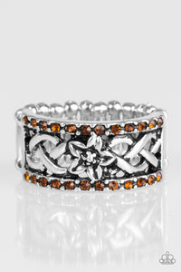 "Paparazzi ""Tropical Springs"" Brown Rhinestone Silver Floral Ring Paparazzi Jewelry"