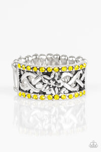 "Paparazzi ""Tropical Springs"" Yellow Rhinestone Silver Floral Ring Paparazzi Jewelry"