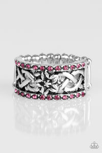"Paparazzi ""Tropical Springs"" Pink Rhinestone Silver Floral Ring Paparazzi Jewelry"