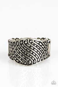 "Paparazzi ""Desert Waves"" Silver Antiqued Wavy Texture Ring Paparazzi Jewelry"