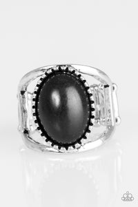 "Paparazzi ""Canyon Cache"" Black Stone Textured Silver RIng Paparazzi Jewelry"