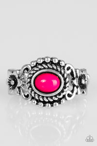 "Paparazzi ""All Summer Long"" Pink VINTAGE VAULT Bead Ornate Antiqued Silver Ring Paparazzi Jewelry"