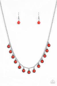 "Paparazzi ""Gypsy Glow"" Red Bead Fringe Silver Necklace & Earring Set Paparazzi Jewelry"