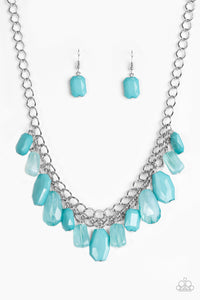 "Paparazzi ""Glacier Goddess"" Blue Faceted Bead Necklace & Earring Set Paparazzi Jewelry"