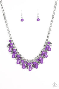 "Paparazzi ""Coastal Cabanas"" Purple & Silver Round and Faceted Bead Necklace & Earring Set Paparazzi Jewelry"