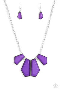 "Paparazzi ""Get Up and GEO"" Purple Faceted Bead Silver Frame Necklace & Earring Set Paparazzi Jewelry"