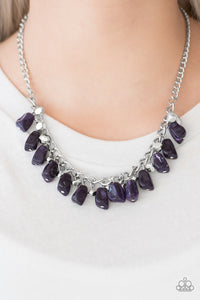 "Paparazzi ""Rocky Shores"" Purple Rock Beading Silver Tone Necklace & Earring Set Paparazzi Jewelry"