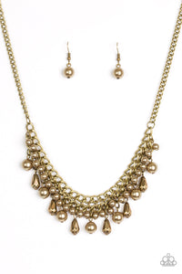 "Paparazzi ""Imperial Idol"" Brass Pearly Bead Necklace & Earring Set Paparazzi Jewelry"