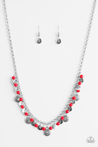 "Paparazzi ""Fashion Formal"" Red Bead Ornate Silver Disc Necklace & Earring Set Paparazzi Jewelry"