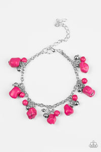 "Paparazzi ""Mountain Mamba"" Pink Stone and Silver Bead Bracelet Paparazzi Jewelry"