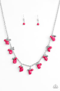"Paparazzi ""Rocky Mountain Magnificence"" Pink Stone Silver Bead Necklace & Earring Set Paparazzi Jewelry"