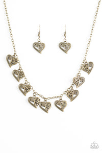"Paparazzi ""Speaking From The Heart"" Brass Filigree Heart Charm Necklace & Earring Set Paparazzi Jewelry"